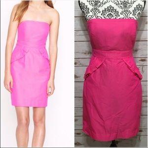 J. Crew Silk-Blend Hot Pink Strapless Dress